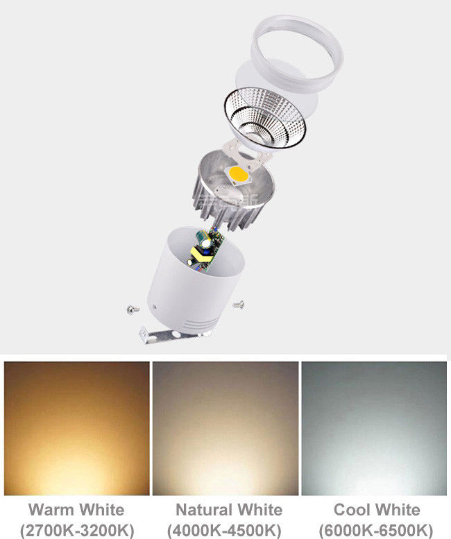 Black / White Aluminum LED Down Light Low Maintenance Cost 1000lm 220V